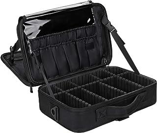 حقيبة مكياج للسفر، حقيبة مستحضرات التجميل الاحترافية من تشوميو، حقيبة للإكسسوارات، حقيبة أدوات (أسود-M) (أسود) (35.56 سم)