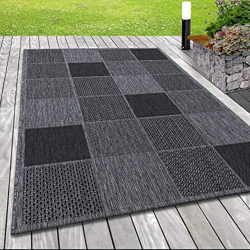 SIMPEX Outdoor-Teppich Sisal Optik Terassen Teppich Karo Motiv Grau, Farbe:Silber, Grösse:160x230 cm