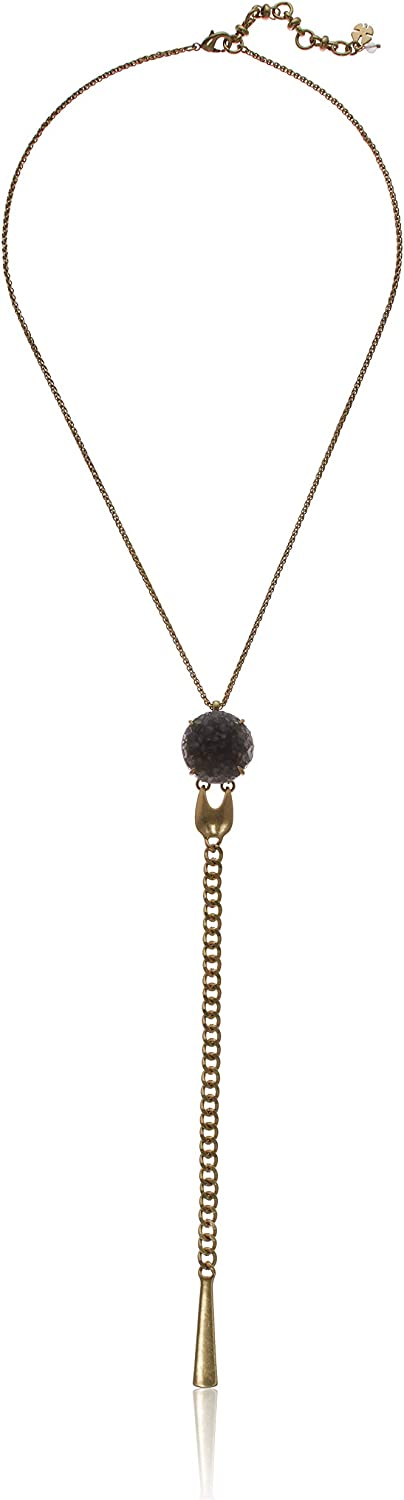 Lucky Brand Women's Gold Druzy Chain Fringe Y Necklace, One Size