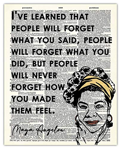Inspirational Wall Art, Maya Angelou Quote: People Will Forget What You Said… Motivational Wall Art Posters - 8x10 Unframed, Positive Quotes Print, a Unique Gift Idea for Home and Office Wall Decor