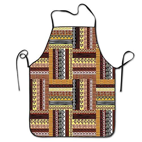 N\A Traditionelle orientalische Motive mit Farben Nigerianische Kulturelemente Schürze zum Kochen Garten Lätzchen BBQ Unisex Langlebig