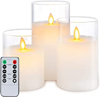 LED Flameless Candles,Luxury Glass Moving Flame Candles Home Decorations Battery Operated Candles with Timer Remote Control for Festival Wedding Christmas Party Decor