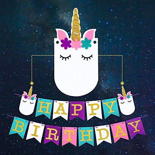 Unicorn Happy Birthday Banner - Pastel Color Felt and Gold Glitter Lettering - High Quality and Reusable - by Wanderoutloud
