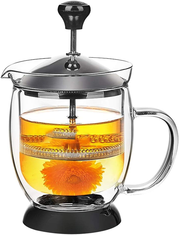 Ensemble de thé en verre élégant tasse théière de fleurs résistant à la chaleur est livré avec filtre ménage four à thé bureau thé cérémonie pot Bouilloire (capacité   A)