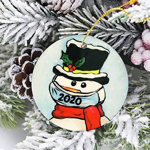 oceansEdge11 2020 Christmas Tree Ornaments Snowman Round Ceramic Gifts Window Door Kitchen Dress Up Hanging