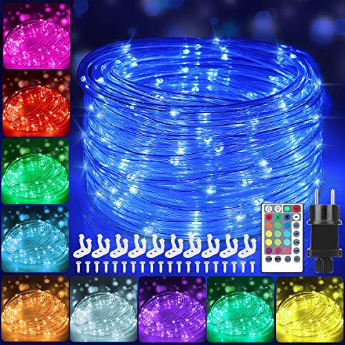 12m Bunt LED Lichtschlauch Außen,IP68 Wasserdicht Bunt Lichterschlauch,120er LED Lichterkette Innen Strombetrieben mit Fernbedienung & Timer,16 Farben 132 Modi LED Schlauch für Balkon Hochzeit Party