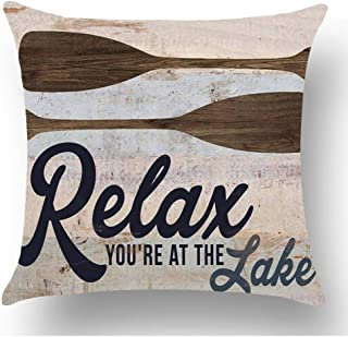 WePurchase Hand Painted Retro Blue Word Relax You're at The Lake Quote Brown Paddle Decoration Cotton Linen Decorative Home Sofa Living Room Throw Pillow Case Cushion Cover Square 18x18 Inches
