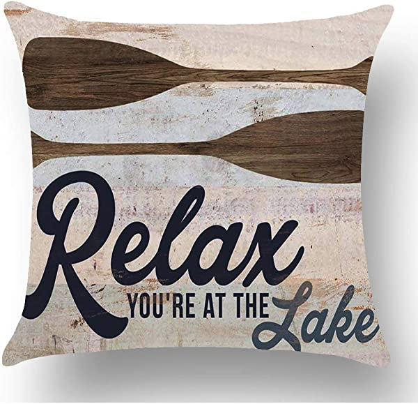 WePurchase Hand Painted Retro Blue Word Relax You Re At The Lake Quote Brown Paddle Decoration Cotton Linen Decorative Home Sofa Living Room Throw Pillow Case Cushion Cover Square 18x18 Inches