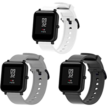 BOLESI 3PCS Bands Replacement for Amazfit Bip Smart watch and Sumsung Galaxy Watch Active 2 / Galaxy Watch 3 41mm, Quick Release Watch Soft Silicone Band(Back/White/Gary)