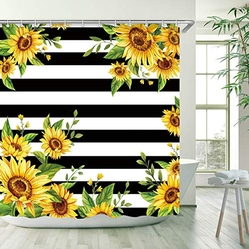 Sunflowers Shower Curtain, Black and White Striped Floral Shower Curtains Set with 12 Hooks, Waterproof Fabric Bathroom Shower Curtain, Decorative Yellow Sunflowers and Green Leaves , 72x72 ''