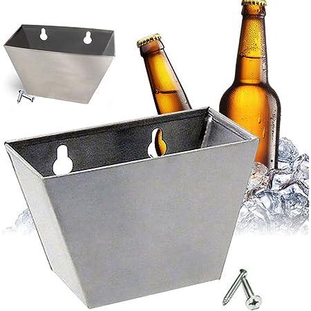 Support mural Décapsuleur Bouchon en acier inoxydable Box Catcher L Vis, 2en 1bouteille de bière Opener/bouchon de bouteille Boîte de rangement free size Silver