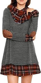 Ancapelion Mini Vestido de Manga Larga para Mujer a Cuadros de Punto de Cuello Alto Suéter Vestidos