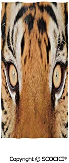 SCOCICI Multipurpose Bathroom Towel,Close up Tiger Eyes Look Feline Camouflage Coat Animal with Shady Colors Photo,for Sports and Spa Home Decor