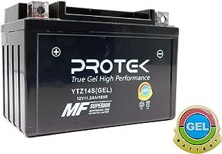 Protek YTZ14S UTZ14S CTZ14S ETZ14S 12V 11.2Ah Sealed AGM Gel Type Battery MF Factory Activated For 2006-2015 Yamaha FZS1000 FZ1, 2009-2017 Yamaha XVS950 V Star 950 Tourer Copycat, 2014-2017 Yamah Bolt