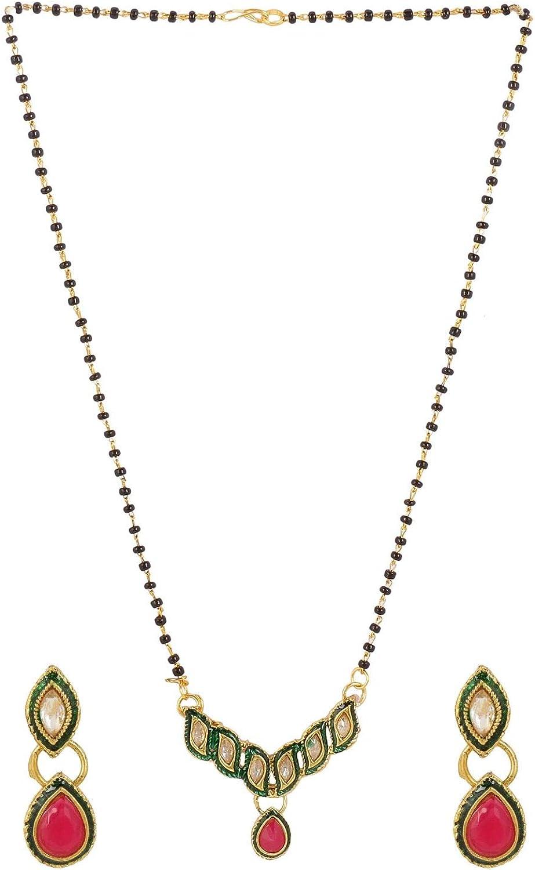 Efulgenz Mangalsutra Indian Boho Antique Rhinstone Kundan Gold Plated Beaded Pendant Necklace Earring Jewelry Set