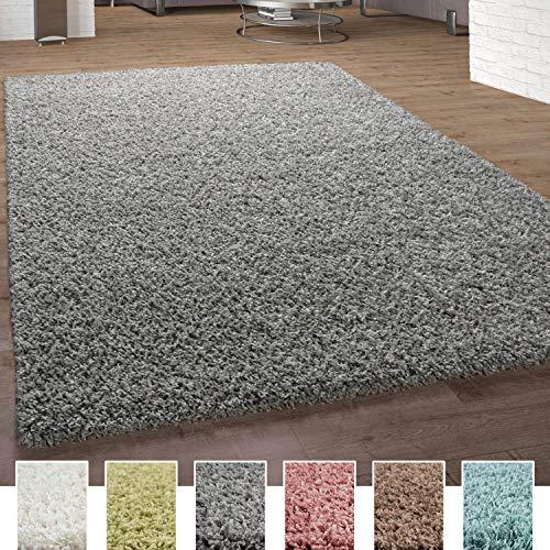 Alfombra Shaggy De Pelo Alto Y Largo Pastel En Distintos Colores, tamaño:160x220 cm, Color:Gris