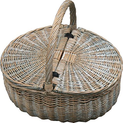 Red Hamper Wicker Willow Provence Double Lidded Empty Picnic Basket