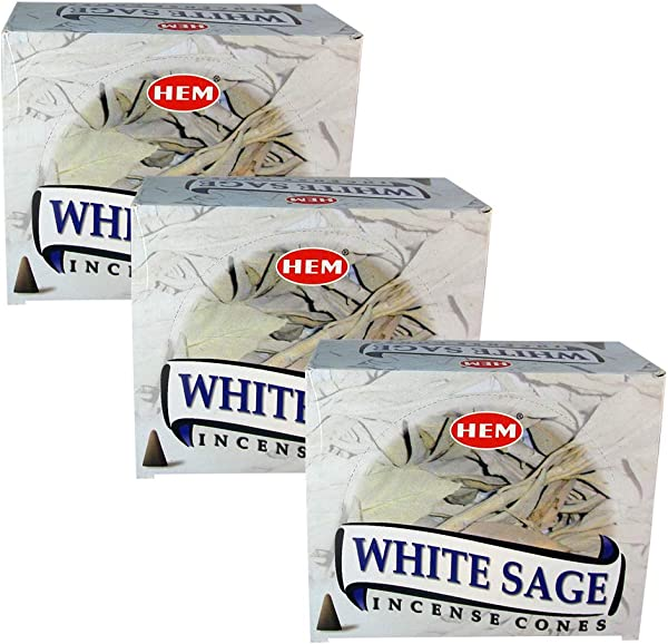 HEM White Sage Pack Of 3 Incense Cones Boxes 10 Cones Each Fine Quality Handrolled Incense Sticks For Purification Relaxation Positivity Yoga Meditation Healing Soothing Prayer Peace