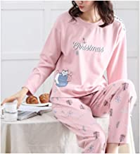 Femaroly Women Pajamas Set Long-Sleeved Cotton Two Piece Nightwear Loungewear Pyjamas