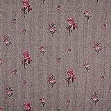 Fabulous Fabrics Glencheck Gestickte Rosen – braun —
