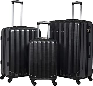 Flight Knight Suitcases Maximum For Delta, United & SkyWest, Ultra Lightweight 4 Wheel ABS Hard Case - Cabin + Medium + Large Grey/Black Gloss FK05_GBG_3SET