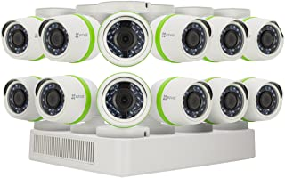 EZVIZ FULL HD 1080p Outdoor Surveillance System, 12 Weatherproof HD Security Cameras, 16 Channel 2TB DVR Storage, 100ft Ni...