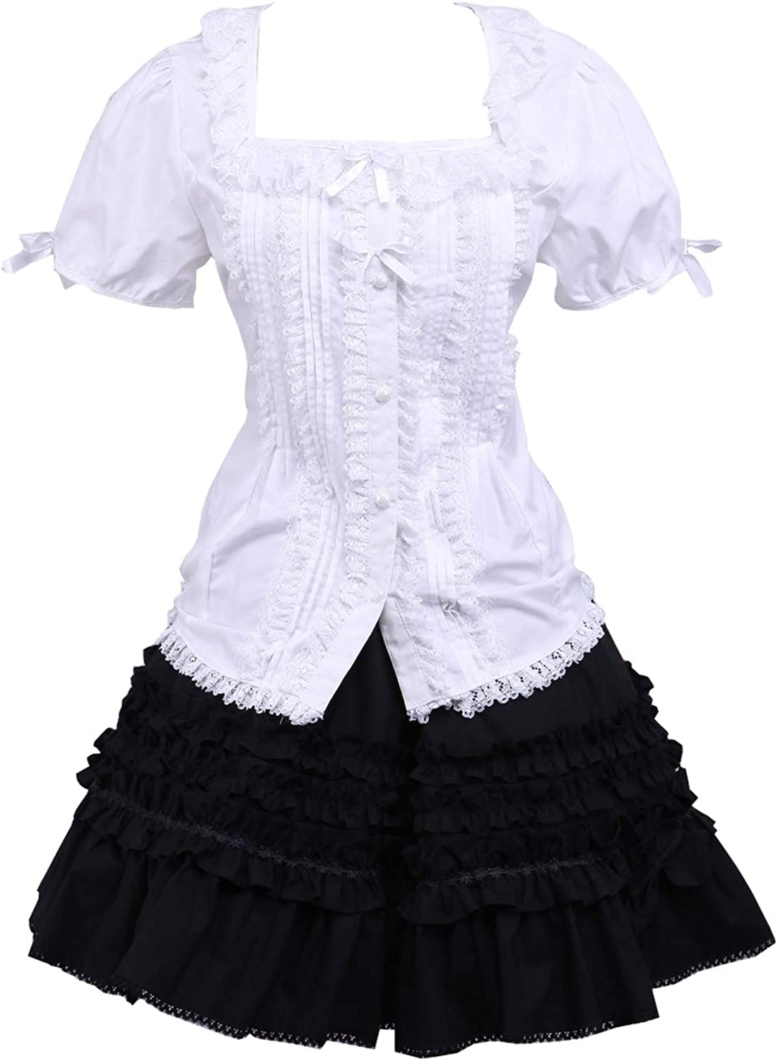 Antaina White Cotton Puff Victorian Blouse and Black Pleated Lace Lolita Skirt