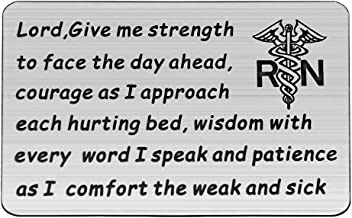 HOLLP Nurse Prayer Wallet Card Lord Give Me Strength Courage Wisdom Patience Gift for Nurse Nursing School Graduation Gift RN Jewelry