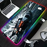 RGB Gaming Mouse Pads Grey Racing Car Snow Mountain Track RGB Mouse pad Gaming Player Laptop Desktop PC Large LED USB Mouse Mat with Backlight 23.6x11.8 inches