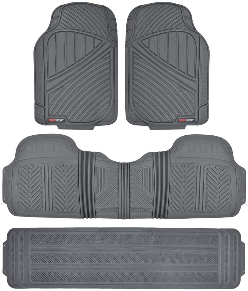 Motor Trend FlexTough, Durable and Flexible Rubber Car SUV Van Floor Mats 3 Rows, Odorless Eco Clean Liners, Extra-High Ridgeline Design (Gray)