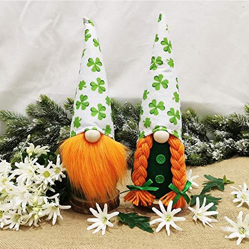 St. Patrick's Day Gnome Irish Gnome Ornaments Set Green Irish Leprechaun Tomte Gnomes Doll Nordic Elf Figurine Home Decoration Ornaments (B)