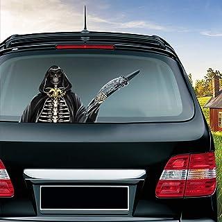 MIYSNEIRN Halloween Grim Reaper Waving Wiper Decal for Rear Window 3D Cartoon Festive Car Sticker Reusable Waterproof Viny...