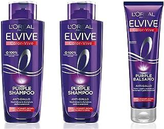 L'Oréal Paris Color Vive Purple Shampoo Anti-Giallo per Capelli Schiariti, Biondi, Decolorati e Grigi, 2 x 200 ml + Balsam...