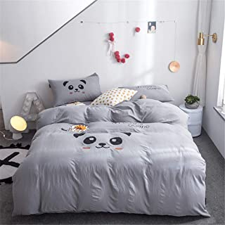 Papa&Mima Panda Grey Cartoon Soft Washed Polyester Microfiber Duvet Cover Set Flat Sheet Pillow Cases 4pcs Queen Size 86