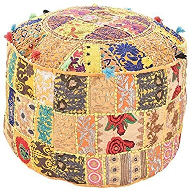 Marudhara Fashion Bohemian Patch Work Yellow Colour Traditional Vintage Ottoman Cover, Indian Pouf Floor/Foot Stool, Christmas Decorative Chair Cover,100% Cotton Art Decor Cushion, 22X14 By