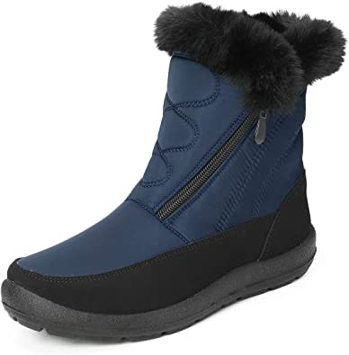 Camfosy Winter Snow Boots for Women, Waterproof Fur Lined Warm Ankle Booties, Ladies Flat Short Rain Boots, Side Zipper Mid Calf Non-Slip Walking Hiking Shoes Outdoor Thermal Black