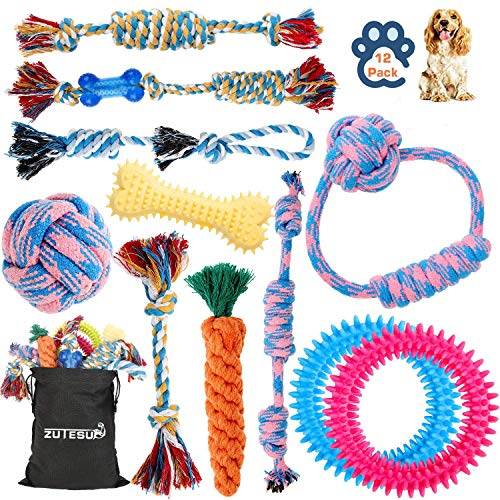 Dog Rope Toy for Puppy Teething, 12 Pack Indestructible Dog Toys for Puppy Chewers, Interactive Tug of War Toys for Puppies Small Dogs Durable Chew Toys for Boredom Chew Teething