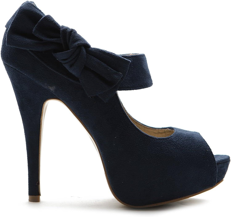 Ollio Womens shoes Platform Open Toe High Heels Ribbon Accent Multi colors Pumps ZM13909 (6 B(M) US, Navy)