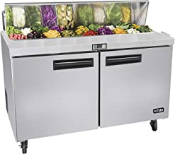 48 Inches Sandwich Salad Prep Table Refrigerator - Kitma 12 Cu.Ft 2 Door Food Prep Station Table with Cutting Board and 12 Pans, 33 °F - 38°F
