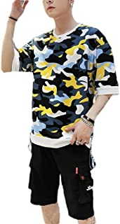 Mogogo Men's Short-Sleeve Relaxed Fashion Camouflage Color Sweatsuit Set