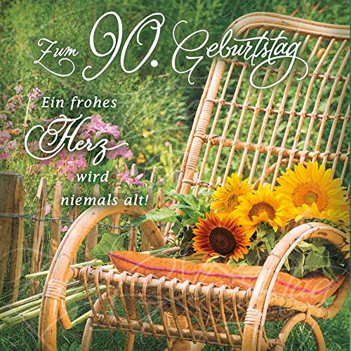 Geburtstagskarte zum 90. Geburtstag Romantica - Schaukelstuhl - 15 x 15 cm