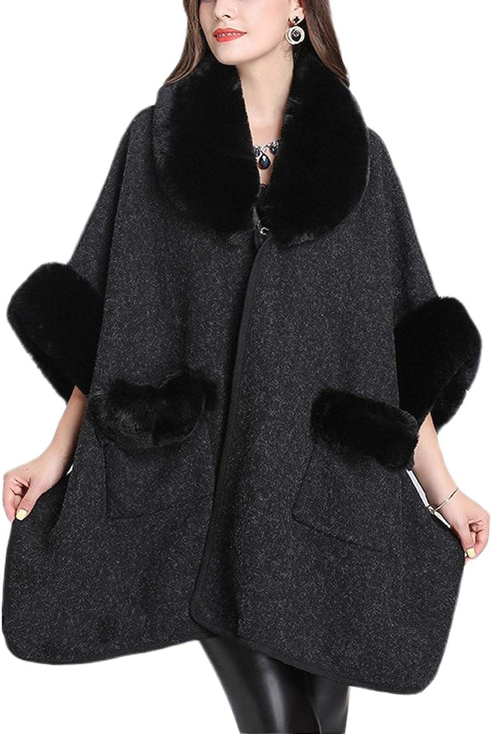 Lentta Women's Loose Fit Turn Down Collar Faux Fur Trim Wool Cardigans Outercoat
