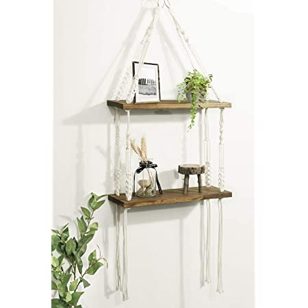TIMEYARD Macrame Hanging Shelves, Rustic Wood Wall Shelves with Handmade Woven Hanger, 2 Tier Rope Floating Shelf for Photo Frames, Small Plants, Boho Home Decor for Bedroom, Living Room, Bathroom