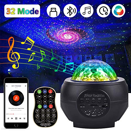 Sternenhimmel Projektor Lampe Nachtlicht, LED Sternenlicht Projektor Lampe Starry Wasserwellen mit Bluetooth Musikplayer Timer USB Fernbedienung, für Kinder Zimmer Dekoration Party Weihnachten