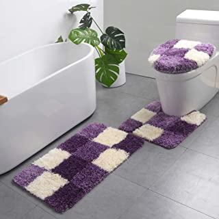 3 Pieces Bathroom Rugs Set Water Absorbent Comfy Shaggy Bath Toilets Mats Set Washable U-Shape Contoured Toilet Mat & Bath Rug & Lid Cover for Tub, Shower, Bathroom - Purple