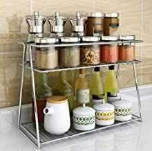 INDIAN DECOR 31500 Kitchen Storage Shelf Stainless Steel Kitchen Shelf Microwave Oven Seasoning Dishes Drain Oven Rack, Multifunction Creative Fashion Family Kitchen Bathroom Storage Rack, 2 Layer