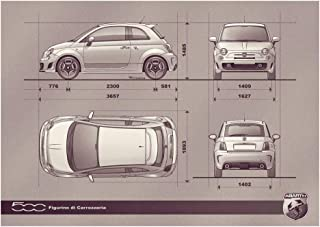 Fiat 500 Abarth (2009) Car Art Poster Print on 10 mil Archival Satin Paper Sepia Spec View 24