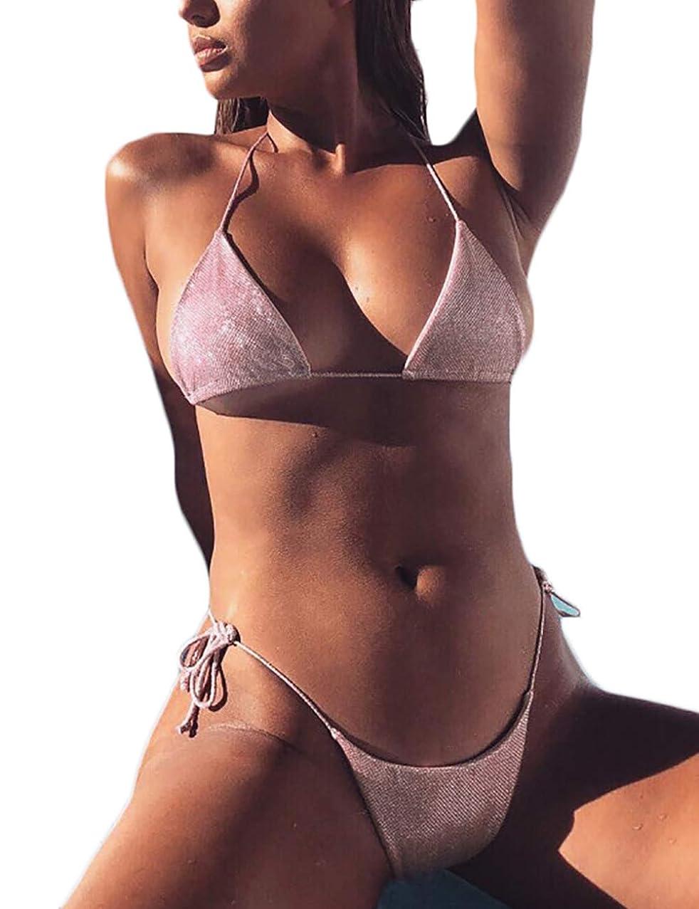 NAFLEAP Women Cheeky Padded Thong Bikini 2 Pieces Brazilian Halter Ties Bathing Suit