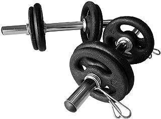 Kit Completo 12kg Anilhas Barras e Presilhas Peso Musculação