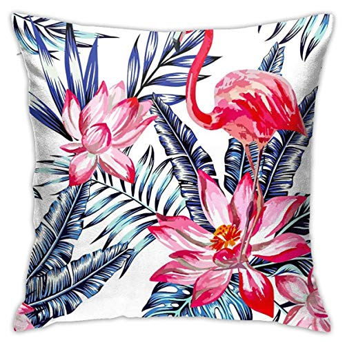wteqofy Throw Pillow Covers Modern Decorative Throw Pillow Case Tropical Leaves and Flamingos Pillow Covers Cushion Case for Room Bedroom Room Sofa Chair Car,18 X 18 Inch